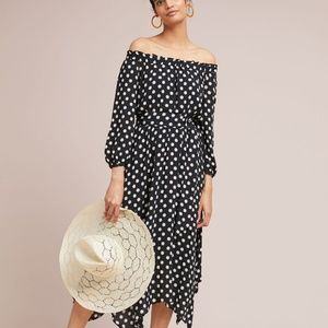 Anthro Maeve Dotted Off-The-Shoulder Dress M